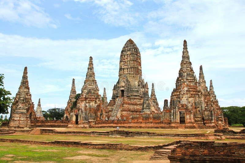Oude Tempel wat Chaiwatthanaram van Ayutthaya-Provincie royalty-vrije stock afbeelding