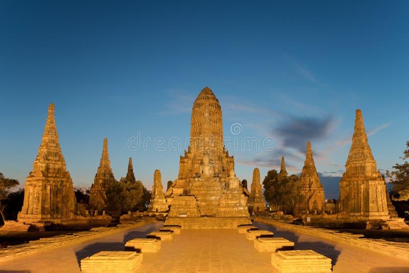 Oude Tempel wat Chaiwatthanaram van Ayutthaya-Provincie Ayutthaya stock fotografie