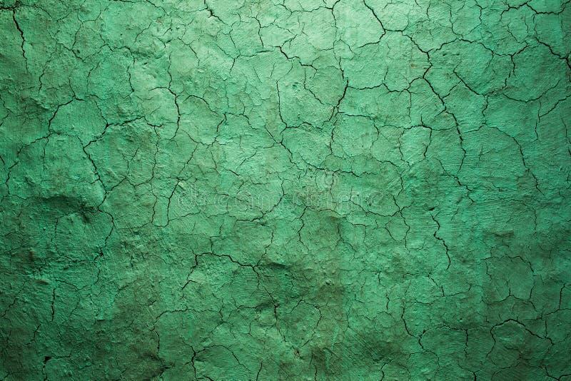 Oude textuur groene gebarsten muur, de oude verftextuur royalty-vrije stock afbeelding