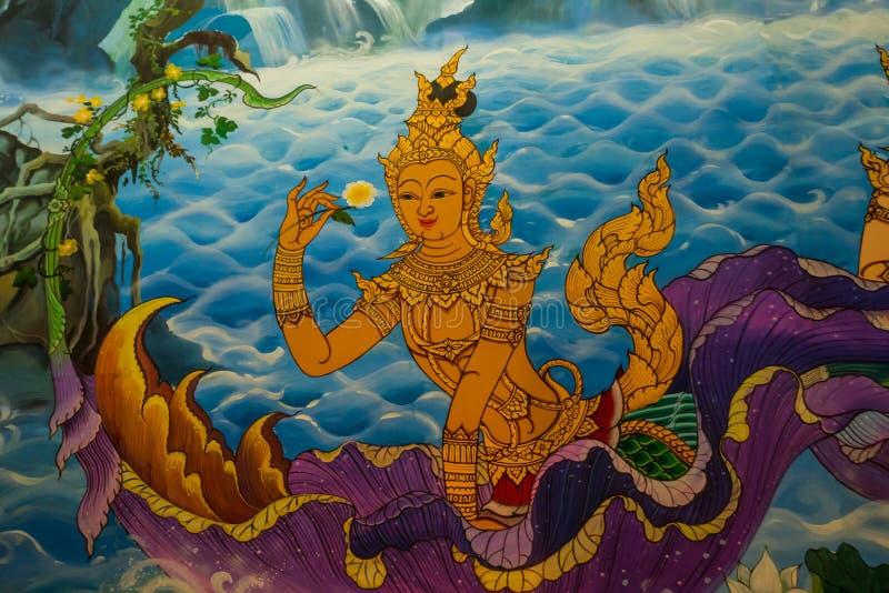 Oude Thais-Stijlmuurschilderingen in de Thaise tempel. stock afbeelding