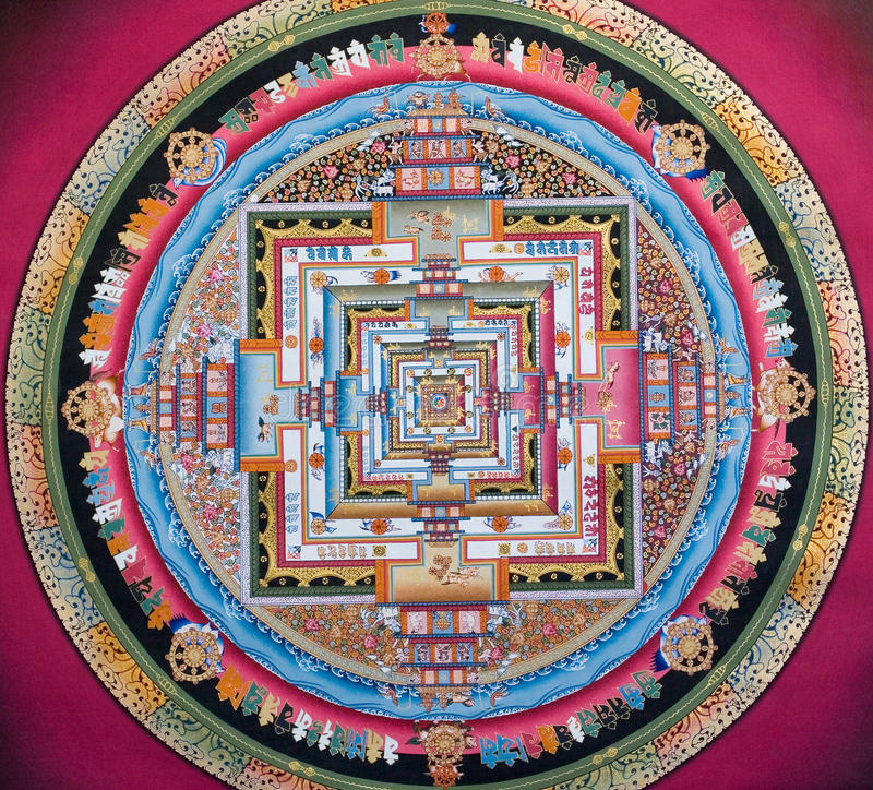 Oude tibetian tangka stock afbeeldingen