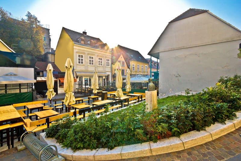 Oude Tkalciceva-straat in Zagreb stock foto's