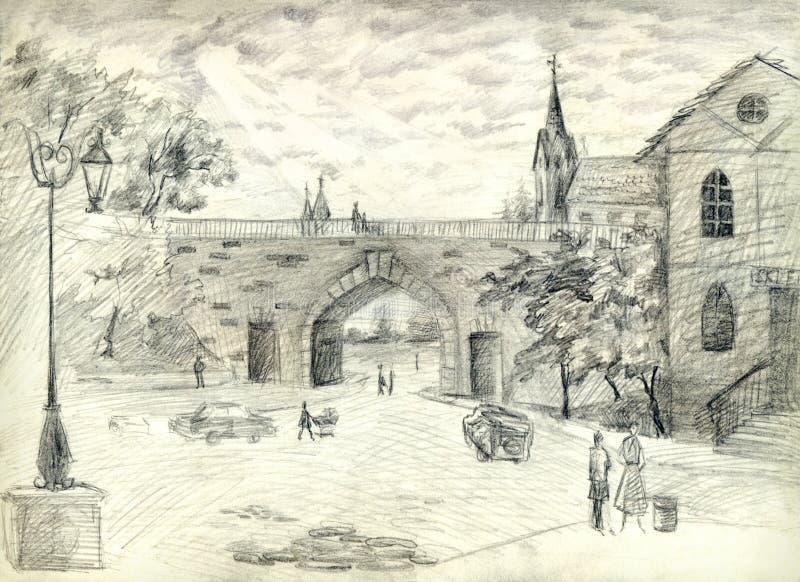 Oude toneelmening van de binnenstad Potloodart. royalty-vrije illustratie