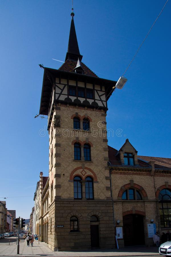 Oude torenbrandweerkazerne Stuttgart stock afbeelding