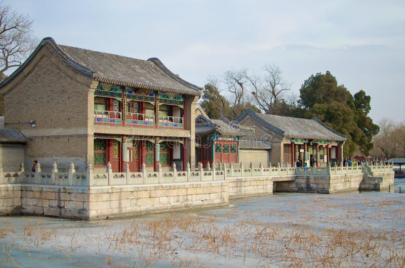 Oude Traditionele Kleurrijke Huizen - de Zomerpaleis, Peking, China stock fotografie