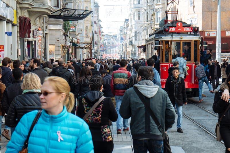 Oude tram in Istanboel royalty-vrije stock foto's
