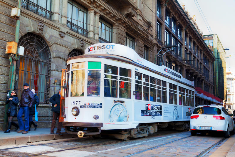 Oude tram in Milaan, Italië stock fotografie
