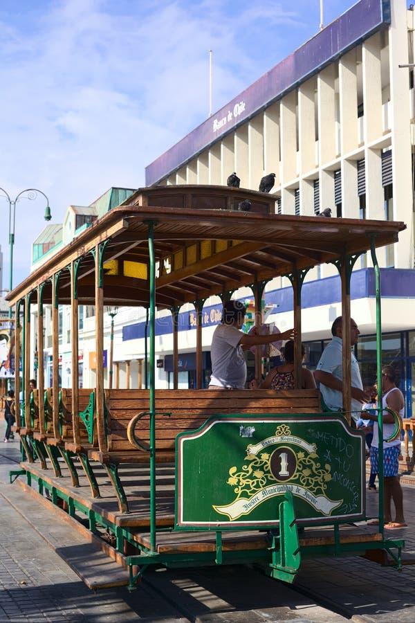 Oude Tramwagen op het Hoofdvierkant van Pleinprat in Iquique, Chili royalty-vrije stock foto