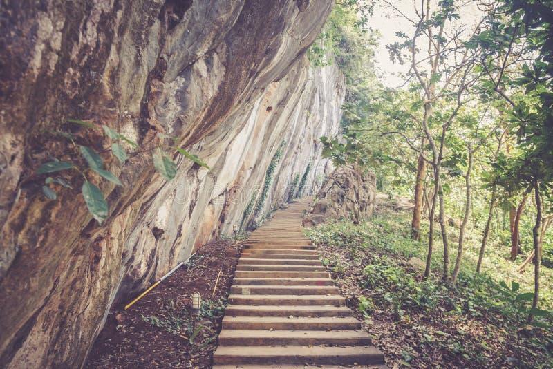 Oude treden die tot tempel op de klip leiden stock foto's
