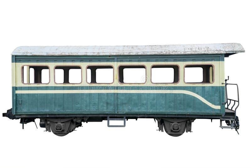 Oude trein die op wit wordt geïsoleerde royalty-vrije stock afbeelding
