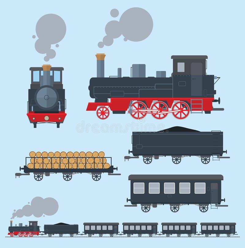 Oude trein vlakke stijl vector illustratie