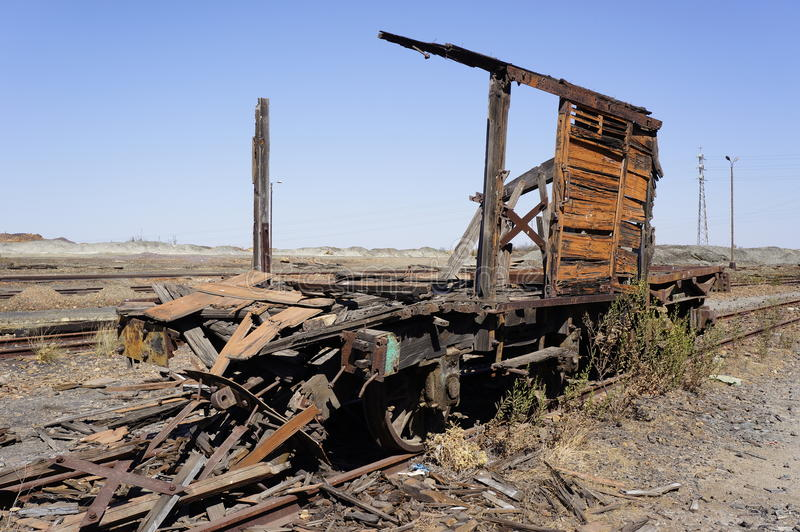Oude treinen in mijnen Tharsis stock foto's