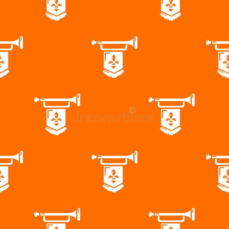 Oude trompet met de vectorsinaasappel van het vlagpatroon royalty-vrije illustratie