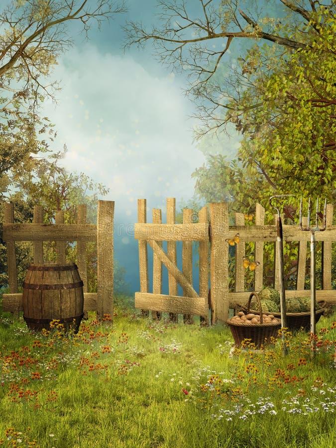 Oude tuin met een houten omheining vector illustratie