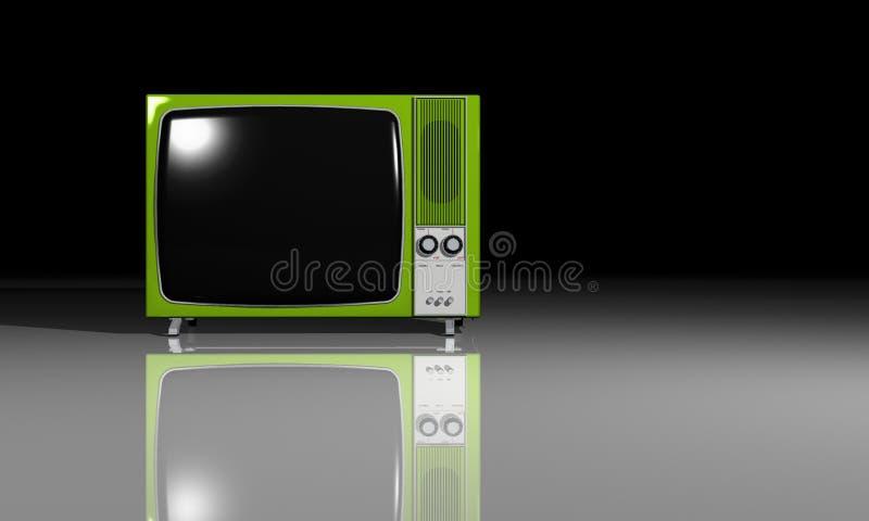Oude TV - Groene Televisie royalty-vrije illustratie