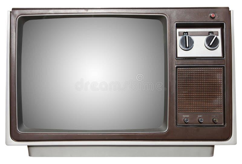 Oude TV met overzicht royalty-vrije stock afbeeldingen