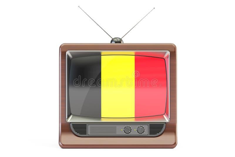 Oude TV met vlag van België Belgisch Televisieconcept royalty-vrije illustratie