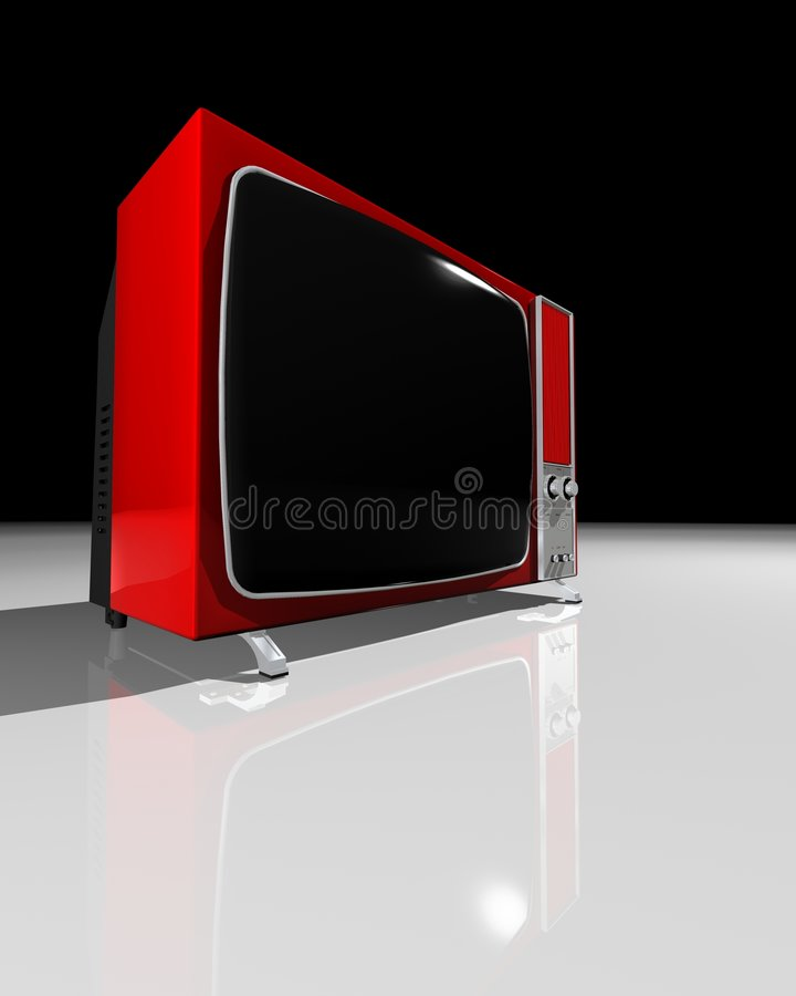 Oude TV - RODE Televisie vector illustratie