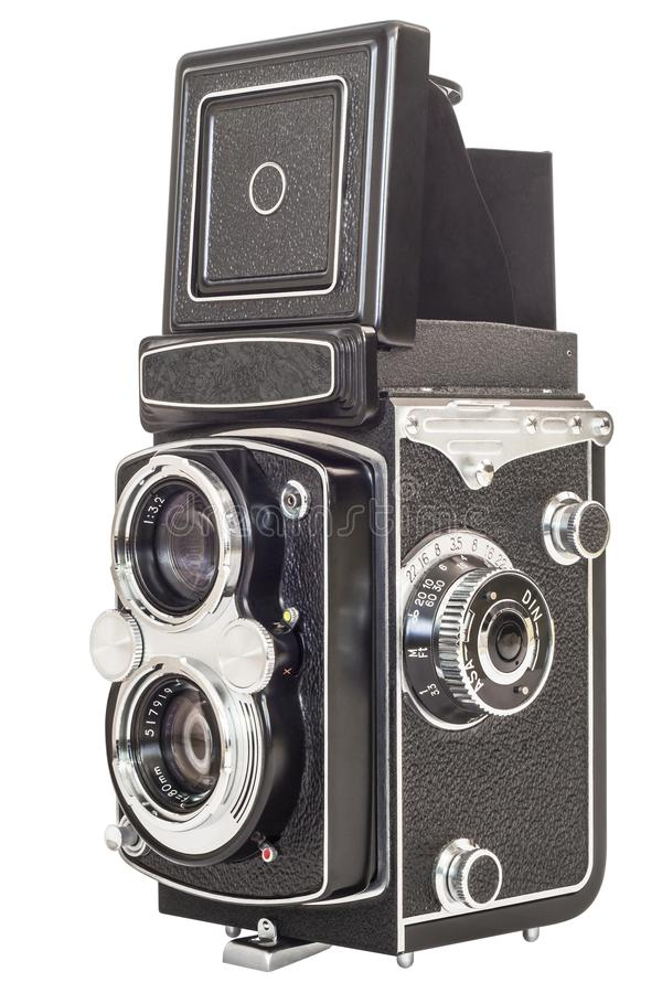 Oude Tweelinglens Reflexcamera die op Witte Achtergrond wordt geïsoleerd stock foto's