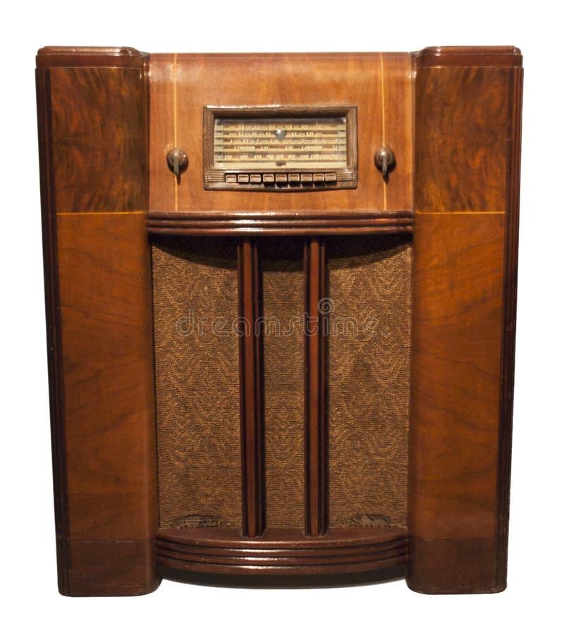 Oude Uitstekende Antieke Radio die op Wit wordt geïsoleerds stock afbeelding
