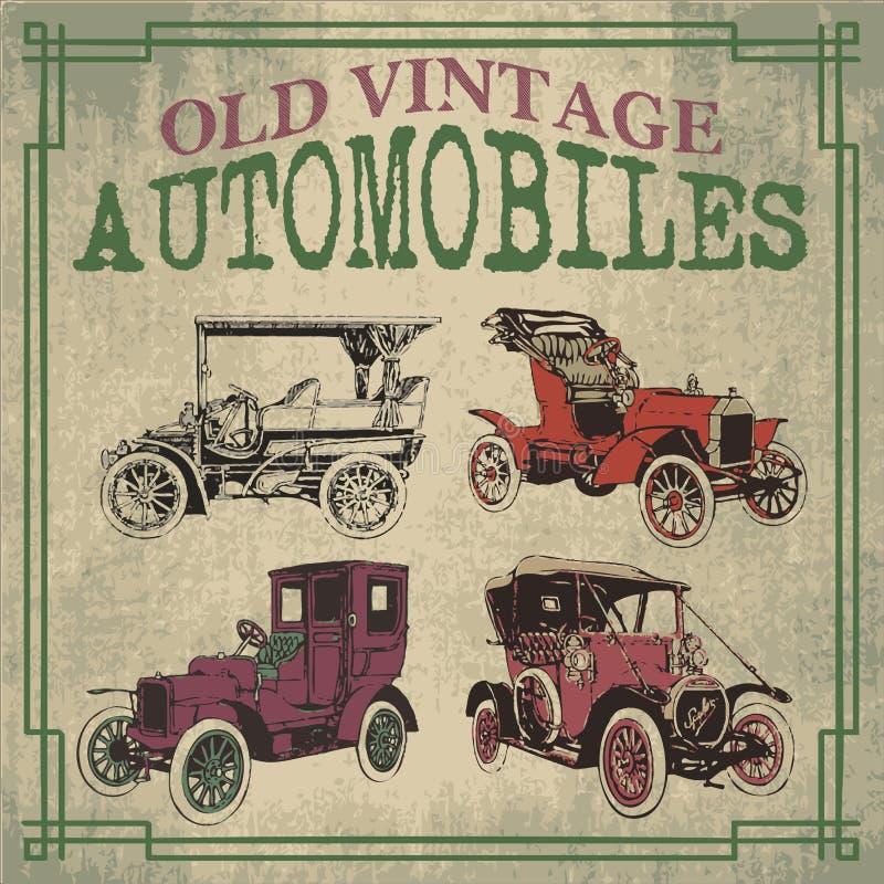 Oude uitstekende auto's royalty-vrije illustratie