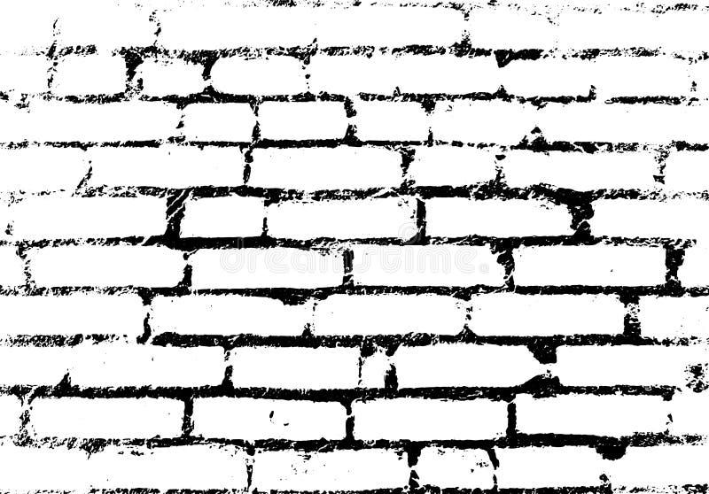 Oude uitstekende bakstenen muur Achtergrond, zwart-wit patroon Vec vector illustratie