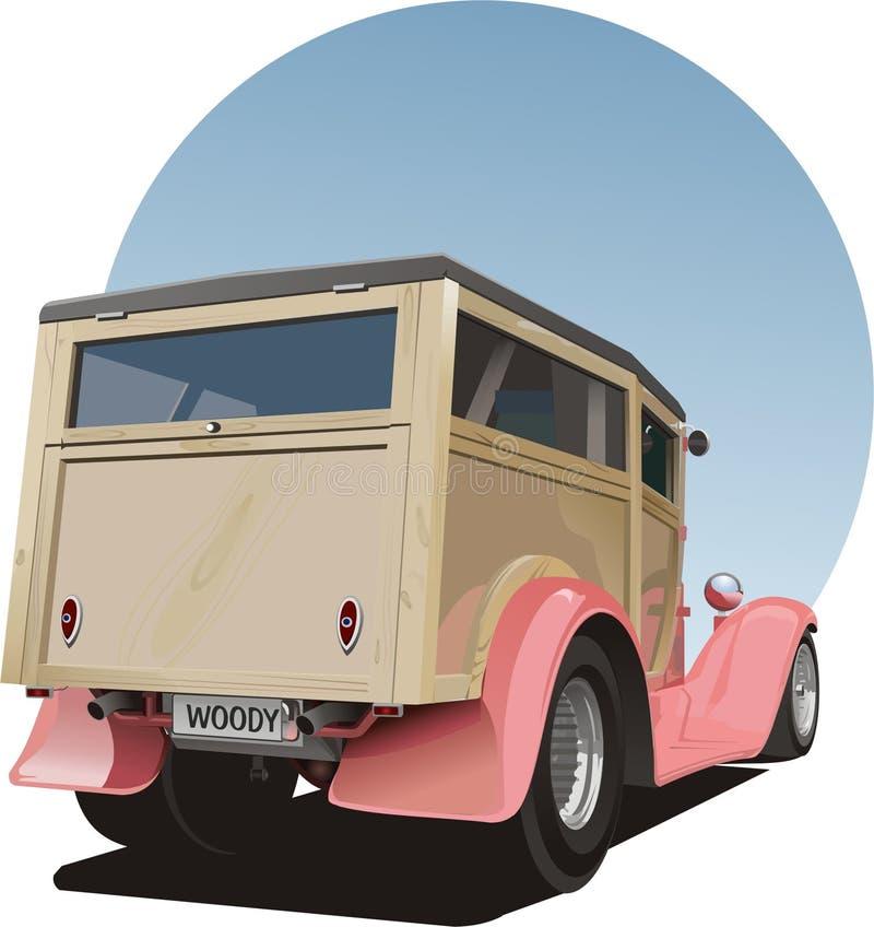 Oude uitstekende bosrijke paneelbestelwagen vector illustratie