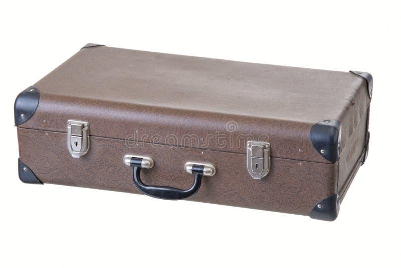 Oude uitstekende bruine koffer stock afbeelding