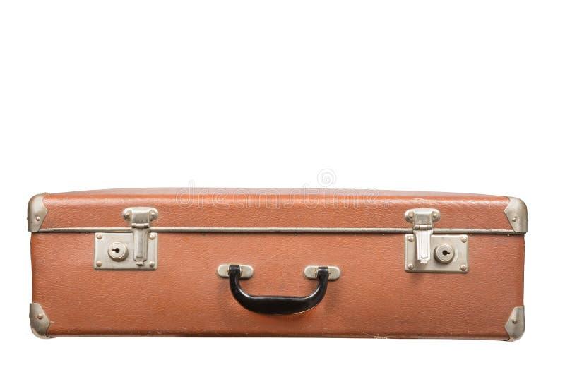 Oude uitstekende die koffer op een witte achtergrond wordt geïsoleerd royalty-vrije stock afbeelding
