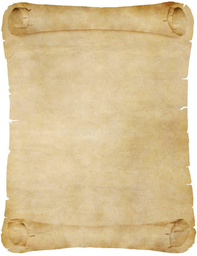 Oude uitstekende document of perkamentrol stock illustratie