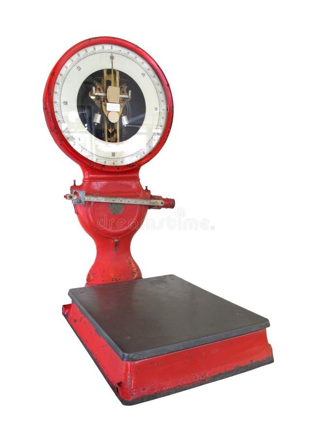 Oude uitstekende geïsoleerdet gewichtsschaal stock fotografie