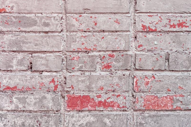 Oude Uitstekende Grey Red Brick Wall Texture-Achtergrond royalty-vrije stock afbeelding