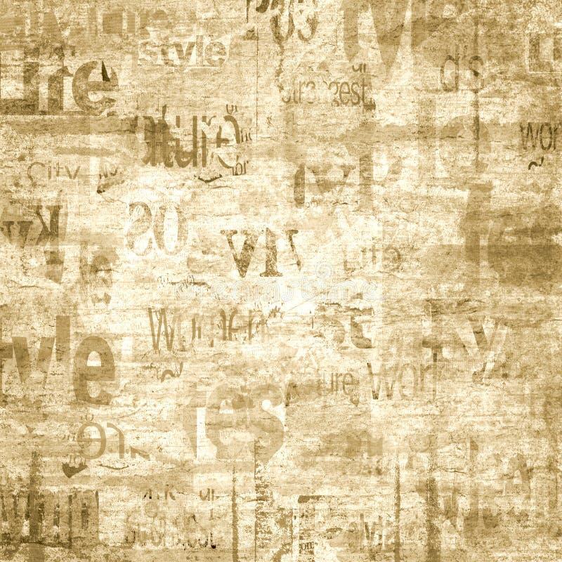 Oude uitstekende het document van de grungekrant textuurachtergrond stock illustratie