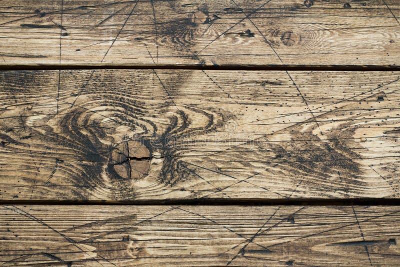Oude uitstekende houten achtergrond bruine horizontale raad Mooie houten textuur stock foto's
