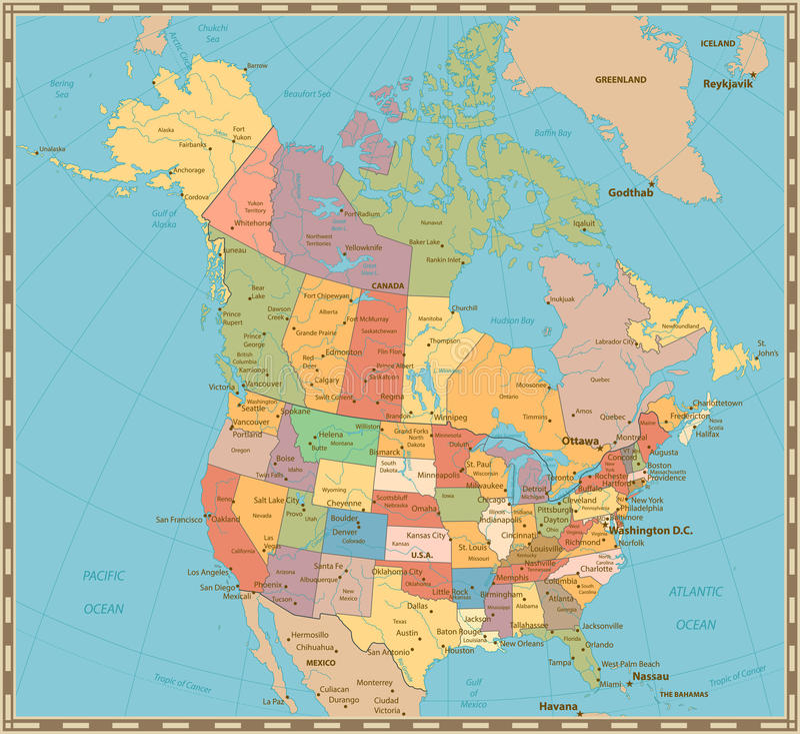 Oude uitstekende kleuren politieke kaart van de V.S. en Canada vector illustratie