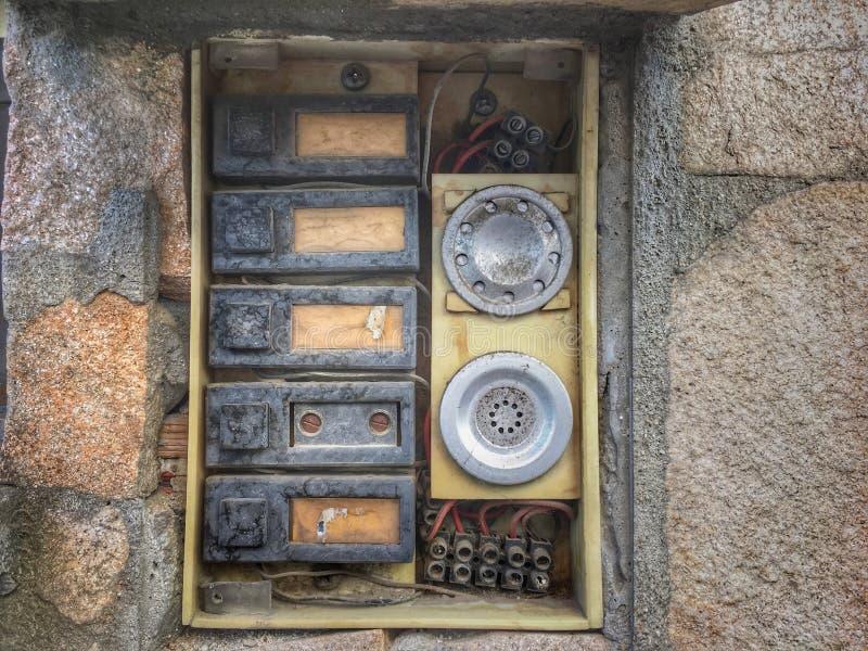 Oude uitstekende klokknopen royalty-vrije stock afbeelding