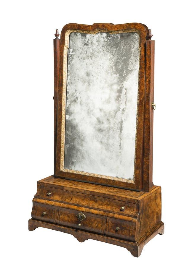 Oude uitstekende lijstvakje spiegel stock afbeelding