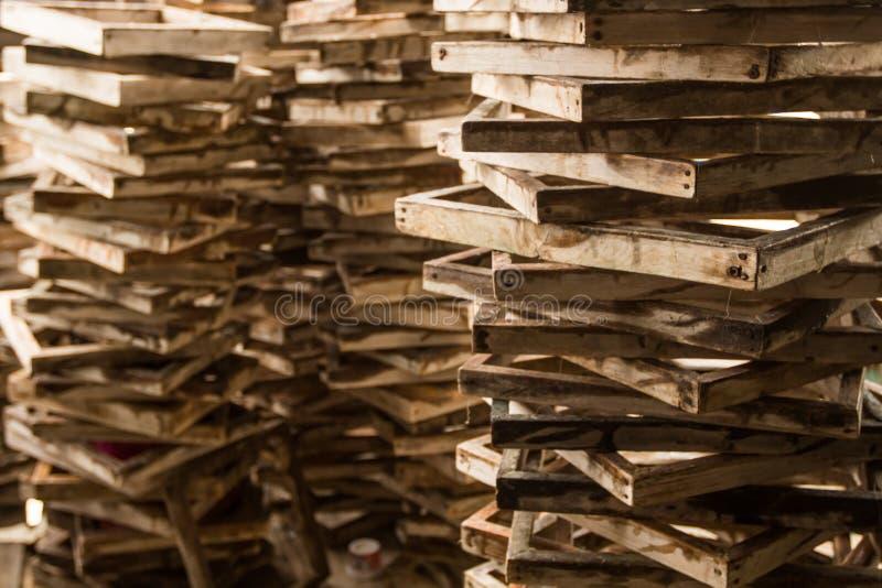 Oude Uitstekende omlijsting, hout geplateerde achtergrond royalty-vrije stock afbeeldingen
