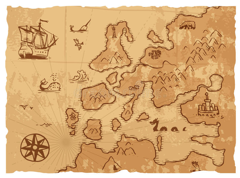 Oude uitstekende retro oude van de kaart antieke aardrijkskunde vectorillustratie als achtergrond royalty-vrije illustratie