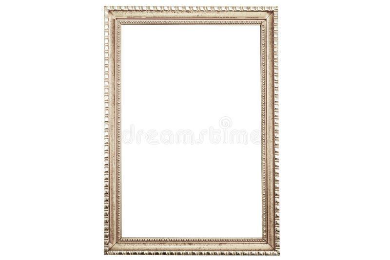 Oude uitstekende roestige gouden die omlijsting op wit wordt geïsoleerd royalty-vrije stock afbeelding