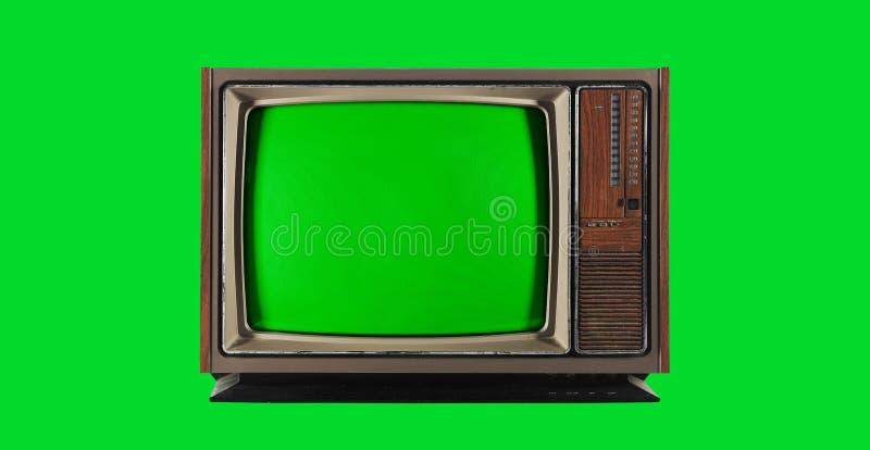 Oude Uitstekende Televisie met het groene scherm stock afbeelding