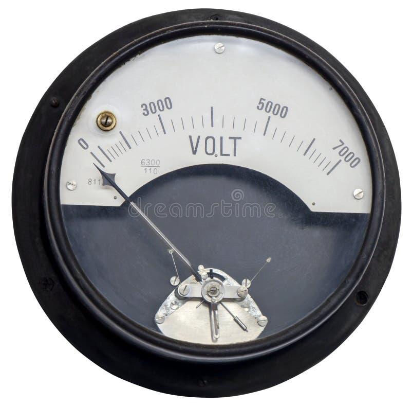 Oude uitstekende oude voltmeter stock fotografie