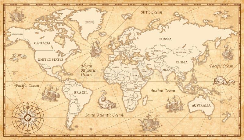 Oude uitstekende wereldkaart vector illustratie