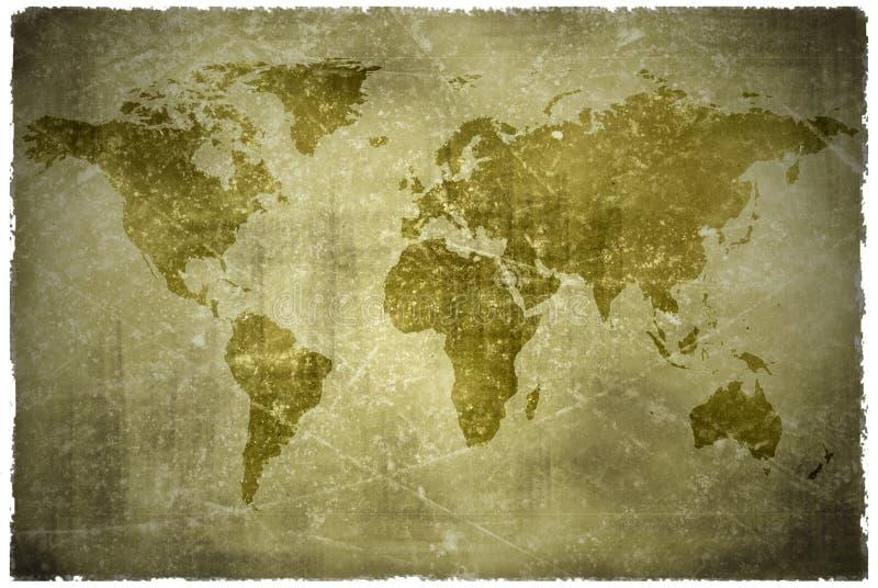 Oude uitstekende wereldkaart stock illustratie