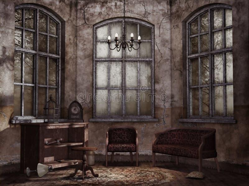Oude uitstekende woonkamer stock illustratie. Illustratie bestaande ...