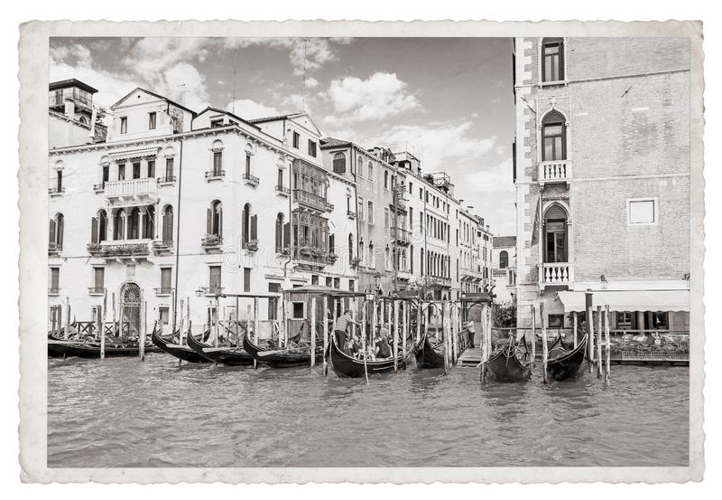 Oude Uitstekende Zwart-wit foto in Venetië stock afbeeldingen
