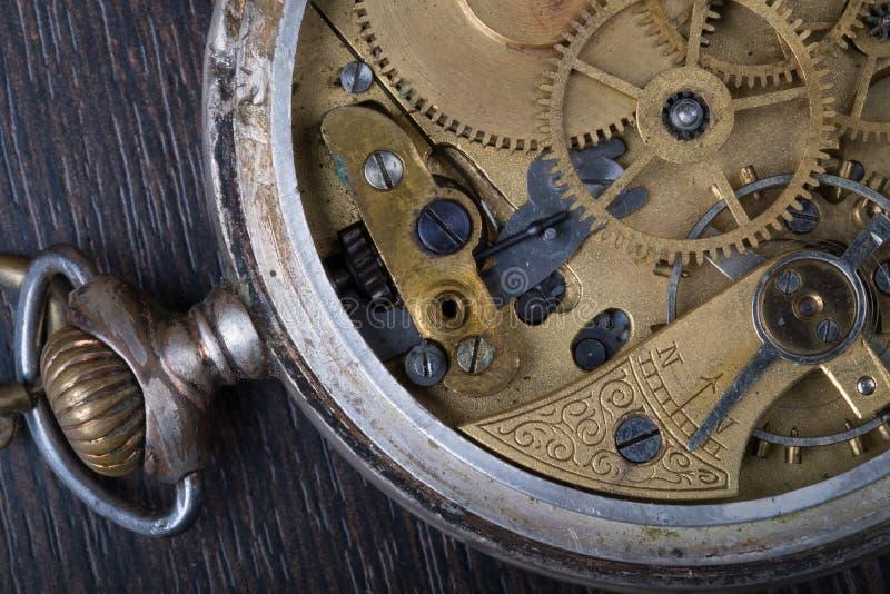 Oude uurwerk dichte omhooggaand stock afbeelding