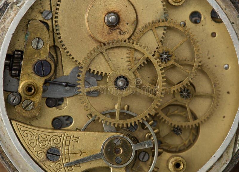 Oude uurwerk dichte omhooggaand Oud technologieconcept stock fotografie