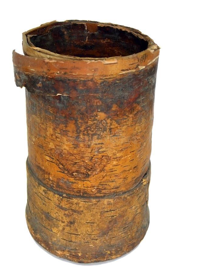 Oude vaas van de berk-schors royalty-vrije stock afbeeldingen
