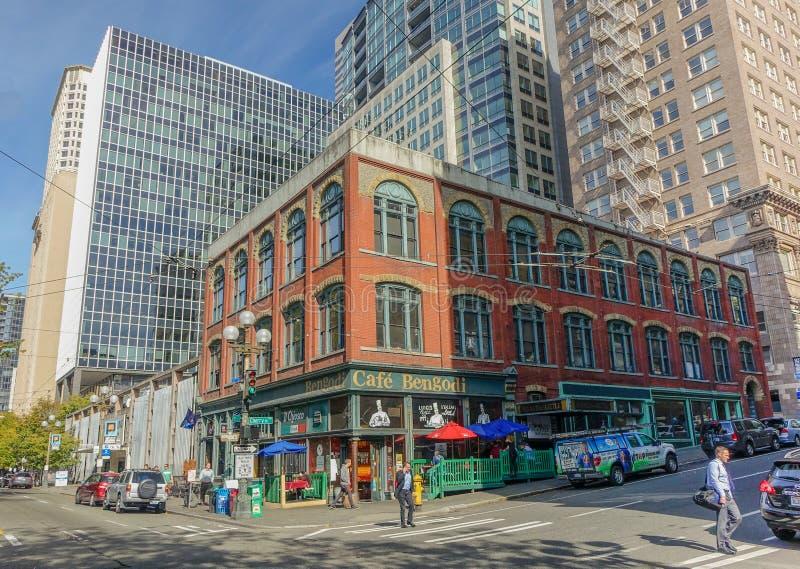 Oude van de binnenstad van Seattle stock afbeeldingen